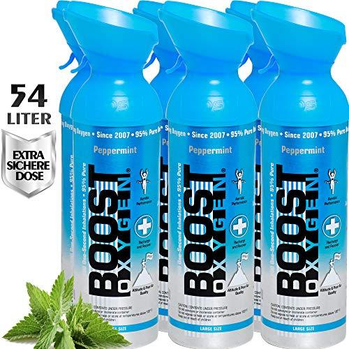 Reiner Sauerstoff in der Dose – 54 Liter PFEFFERMINZE, 95% reiner Sauerstoff in zwei transportablen 9 Liter Sauerstoffdosen für mehr als 900 Inhalationen.