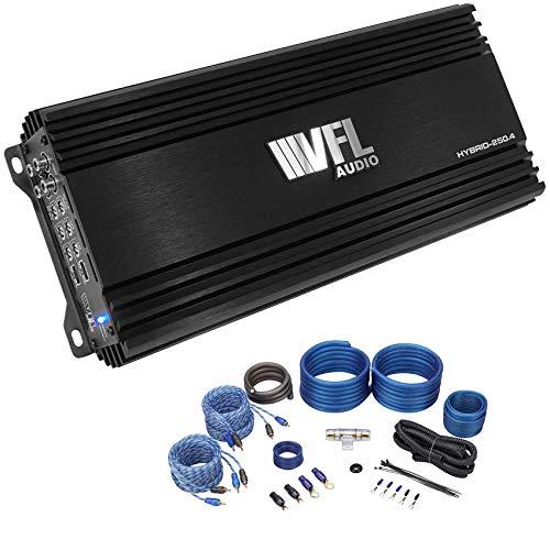 VFL Hybrid 250.4 1000 Watt 4-Channel Car Amp 150w RMS x 4 @ 2 ohm+Amp Kit