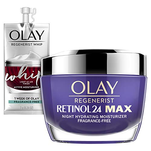 Olay Regenerist Retinol 24 Max Moisturizer, Retinol 24 Max Night Face Cream, 1.7 Oz + Whip Face Moisturizer Travel/Trial Size Gift Set