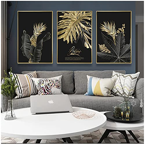 Moderno negro hojas de oro y letras sofá Fondo pintura decorativa cartel lienzo pared arte decoración del hogar