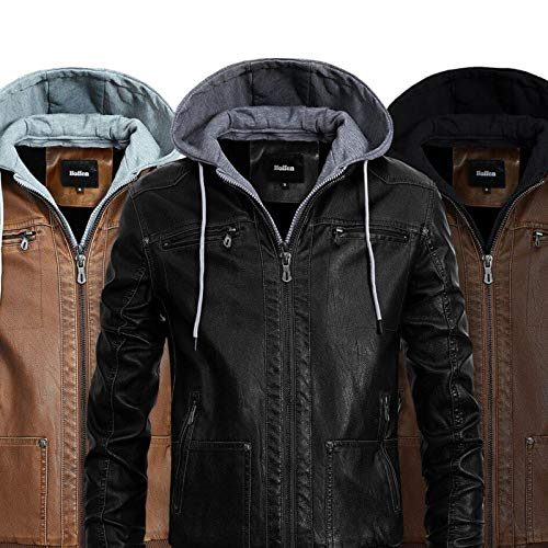 Hoffen Premium Vegan Leather Jacket for Men with Detachable Hood (S/US XS, Classy Model - Brown)