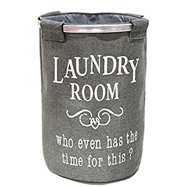 Foldable Laundry Hamper Round Clothes Storage Basket Collapsible Sturdy Hamper 16 IN Gray
