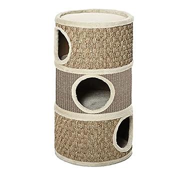 Pawhut Arbre à Chat cylindrique - Tour à griffer pour Chat - Arbre à Chat Tour - Tonneau griffoir - 3 niches + Plateforme - sisal Corde d'algues Beige