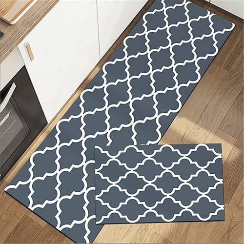Kitchen Mat [2 PCS] Cushioned Anti-Fatigue Floor Mat, Waterproof Kitchen Mats and Rugs Heavy Duty PVC Ergonomic Comfort Standing Foam Mat for Kitchen, Floor Home, Office, Sink, Laundry (Light Gray)