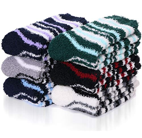 ANTSANG Herren Damen Kuschelsocken Warme Stoppersocken Winter Rutschfeste Socken Haussocken Geschenke Weihnachtssocken 6 Paar (Mischfarbe E(6 Paare))