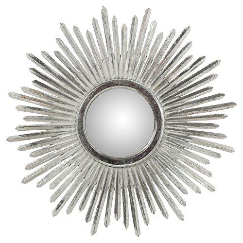 DRW Espejo de Pared Redondo y de Madera con Forma de Sol, Plateado, 80cm, INT. 24cm
