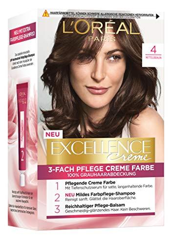 L'Oréal Paris Excellence Crème 4 Mittelbraun 3er Pack(3 x 268 g)