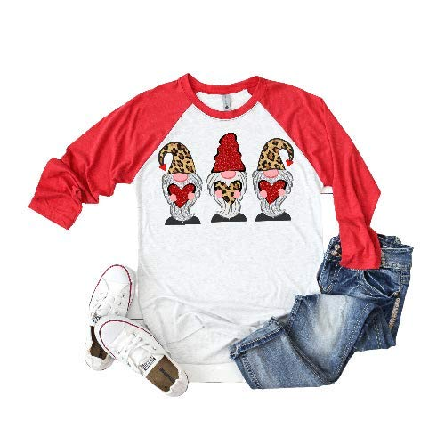 Womens Leopard Gnome Low price Valentines Day Raglan Baseball Tshirt New color