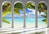 decomonkey Fototapete Meer Insel 350x256 cm XL Tapete...