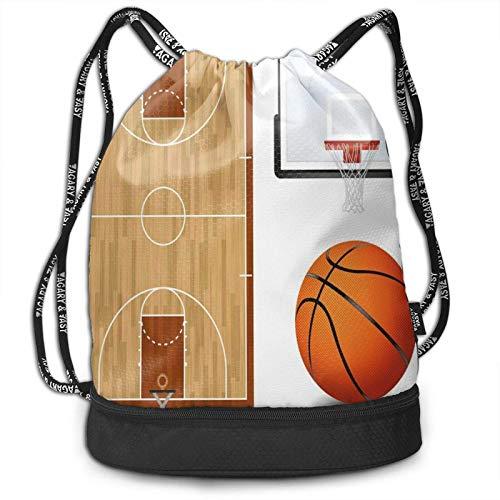 DJNGN Kordelzug Rucksack, Basketballplatz Backboard Print Sport Travel Gym Bundle Rucksack Tasche