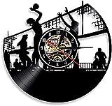 Reloj de Pared con Disco de Vinilo para Jugar al Voleibol, decoración del hogar, Deportes, diseño Moderno, Retro, Creativo, Reloj de Pared, Regalo