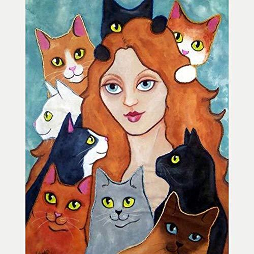 DIY 5D Diamond Pintura Kits Gato animal de niña de dibujos animados Kit de Pintura de Diamantes 5D Diamante Bordado de Punto de Cruz, Manualidades para decoración de Pared 30x40 cm(Sin marco)