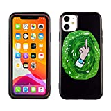iPhone 11 6.1 Inch TPU Case CASEVEREST 3D Print Design Slim Fit Cover iPhone 11 Rick and Morty Green Portal Finger