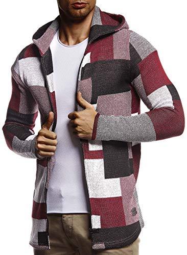 Leif Nelson Herren Sweatjacke Lange Freizeitjacke mit Kapuze Schwarze Übergangsjacke Baumwolle-Anteil Basic Hoodie für Männer Kapuzenjacke Sweater Rot XX-Large
