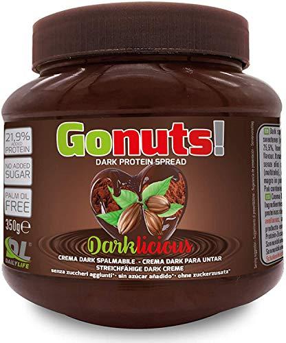 Daily Life Gonuts Darklicious - Cioccolata Fondente Spalmabile di Cacao e Nocciole - Con il 21.9% di Proteine del Siero Del Latte Senza Olio di Palma e Zuccheri Aggiunti - 350 gr