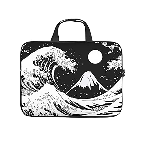 Big Wave Kanagawa - Bolsa para ordenador portátil, multifuncional, superligera, bolsa de mano para trabajo, estudio para hombres y mujeres
