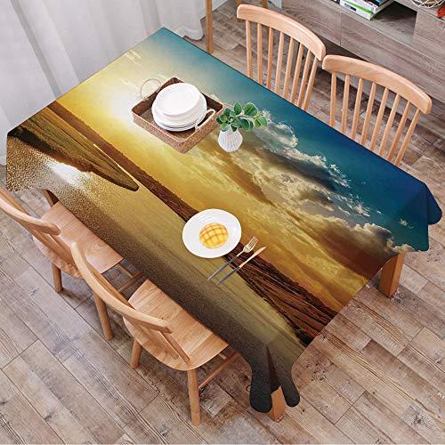 Rechteck Tischdecke140 x 200 cm,Wolken, Cooler Sonnenuntergang über dem Fluss Horizon Magical Landscape,Couchtisch Tischdecke Gartentischdecke, Mehrweg, Abwaschbar Küchentischabdeckung für Speisetisch