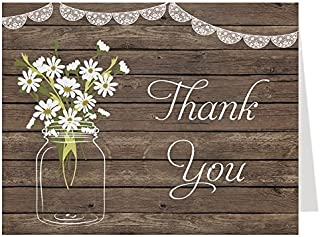 Mason Jar, Thank You Cards, Daisies, Wood, Lace, Bridal Shower, Wedding, Thank You Cards, Wood, Lace, Country, Rustic, Cottage Chic, Set of 50 Thank You Notes with Envelopes