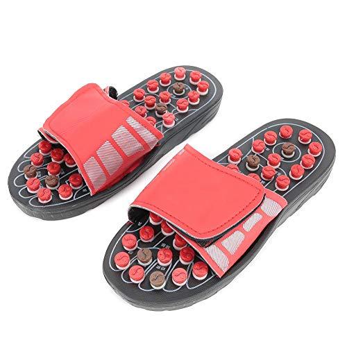 Akupunktur Massage Hausschuhe Schuhe, Akupressur Unisex verstellbare Fußmassage Hausschuhe Fuß stimulieren Hausschuhe Reflexzonenmassage Sandalen für das Gesundheitswesen (rot)(40-41)