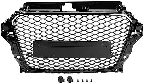 Zaaqio Honeycomb Hood Grill, For A3 / S3 8V RS3 Style 2013 2014 2015 2016 Front Sports Hex Mesh Honeycom Hood Grill Gloss Black Auto Accessories No Logo