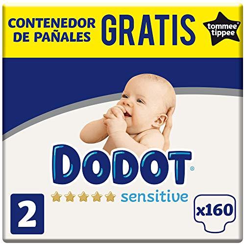 Dodot Sensitive Pañales Talla 2, 4-8 kg, 160 Pañales + GRATIS Contenedor de pañales Tommee Tippee (8006540011676)