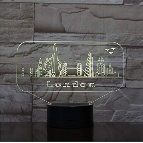 Nachtlampjes sluimerlichten usb 3d LED nachtlicht stad Londen sfeerlamp decoratie kinderen baby geschenk beroemde gebouw tafellamp nacht neon Aanraakschakelaar.