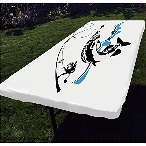 Fishing Decor Polyester Fitted Tablecloth,Big Pike Fish Catching Wobblers Reel Trap in River Raptorial Predator Print Rectangular Elastic Edge Fitted Table Cover,Fits Rectangular Tables 60x30' Black B