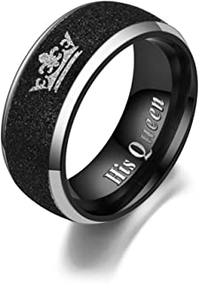 Ihanskio Matching Promsie Couple Rings Black Her King His Queen Crown Engraved Matte Engagement Wedding Bands Annivesary T...