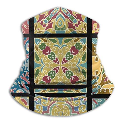 Dydan Tne Azulejos de cerámica para la Cabeza de Vino Vintage marroquí, Polaina de Cuello, Calentador de Invierno, Bufanda de Tubo de esquí, Cubierta de Lana a Prueba de Viento