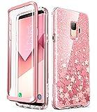 i-Blason Hülle Kompatibel für Samsung Galaxy S9 Glitzer 360 Grad Handyhülle Bumper Hülle Glänzend Schutzhülle Full Cover [Cosmo] mit integriertem Bildschirmschutz, Pink