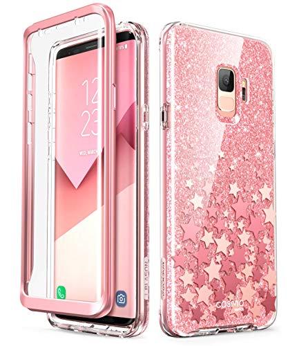 i-Blason Hülle Kompatibel für Samsung Galaxy S9 Glitzer 360 Grad Handyhülle Bumper Case Glänzend Schutzhülle Full Cover [Cosmo] mit integriertem Displayschutz, Pink