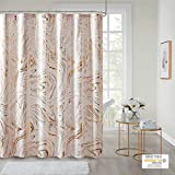 Intelligent Design Rebecca Fabric Shower Curtain Metallic Marble Design Machine Washable Modern Home Bathroom Decor, Bathtub Privacy Screen, 72' x 72', Blush/Gold