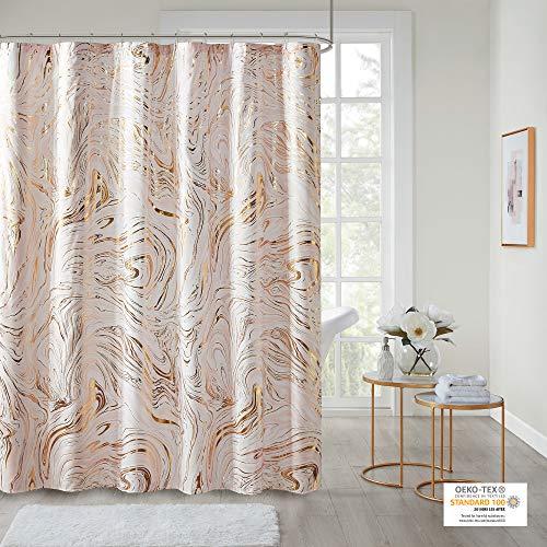 "Intelligent Design Rebecca Fabric Shower Curtain Metallic Marble Design Machine Washable Modern Home Bathroom Decor, Bathtub Privacy Screen, 72"" x 72"", Blush/Gold"