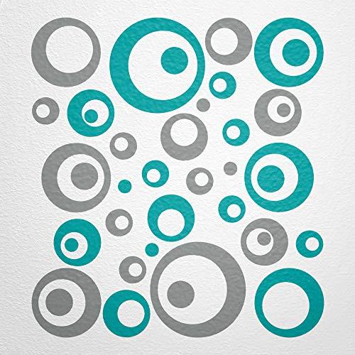 WANDfee Wandtattoo Kreise Punkte 50 Aufkleber FARBWUNSCH Wandaufkleber Kinderzimmer Fliesenaufkleber Badezimmer Küche grau türkis
