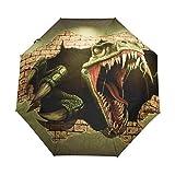Ombrello da viaggio piccolo Antivento da esterno per pioggia Sun UV Auto compatto Ombrello da 3 pieghe Cover - Dinosaur Wall