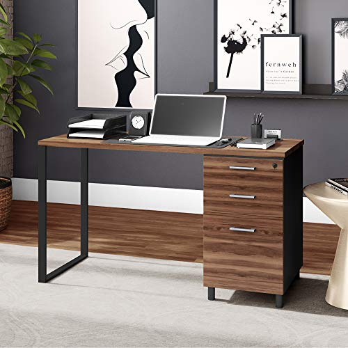 Milano 47 Inch Home & Office Computer Desk with 3 Detachable Locked Drawers - Cass Walnut/Black