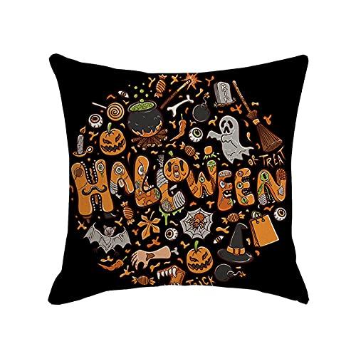 Cxcdxd 45cm × 45cm Decoraciones de Halloween Almohada de Lino Negra (Los Rellenos están incluidos)