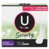 U by Kotex Security Lightdays Panty Liners, Light Absorbency, Extra Coverage, Unscented, 112 Count