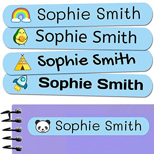 50 Etiquetas Adhesivas Personalizadas, de 6 x 1 cms, para marcar objetos, libros, fiambreras, etc. Color Azul Celeste