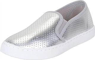 Cambridge Select Women's Slip-On Perforated Laser Cutout Flatform Fashion Sneaker