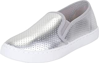 Cambridge Select Women's Slip-On Perforated Laser Cutout Flatform Fashion Sneaker