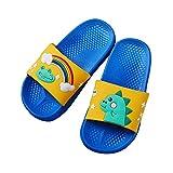 Viviplus Kids Boys Girls Non-Slip Beach Pool Bath Shower Slippers Cartoon Dinosaur Slides Sandals House Slippers Shoes Blue