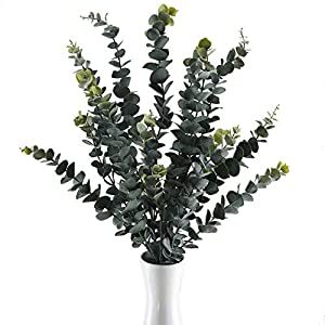 GTIDEA 3PCS 34.6 inches Artificial Eucalyptus Branches Large Frosted Fake Greenery Leaves Stems Shrubs Plastic Outdoor Plants Flower Arrangements Home Wedding Floor Vase Filler Decor