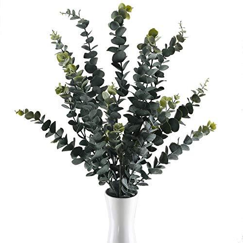 GTIDEA Künstliche Eukalyptuszweige, groß, gefrostet, künstliche Blätter, Stämme, Sträucher, Kunststoff, für den Außenbereich, UV-Schutz, Zuhause, Büro, Hochzeit, Bodenvase, Dekoration, 3 Stück