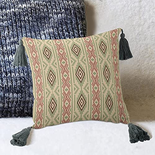 by Unbranded Brown Design Line - Almohada decorativa con borlas, diseño de artes visuales, para sofá, dormitorio, salón, decoración cuadrada de 10 pulgadas