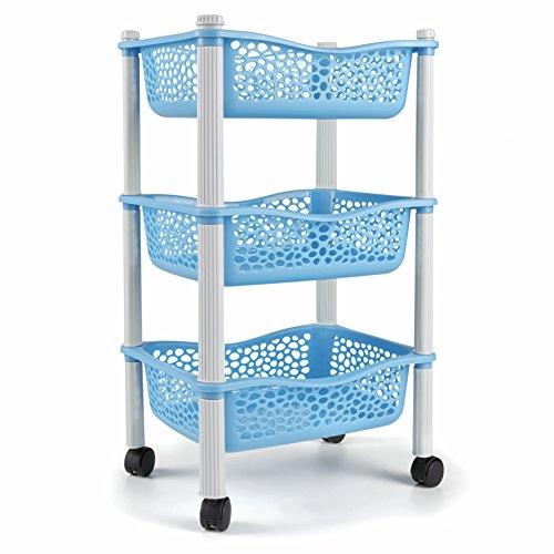 Carrito cocina con ruedas auxiliar carrito frutas y verduras organizador frutero carro verdulero modernos Plastico de uso Rudo - Azul