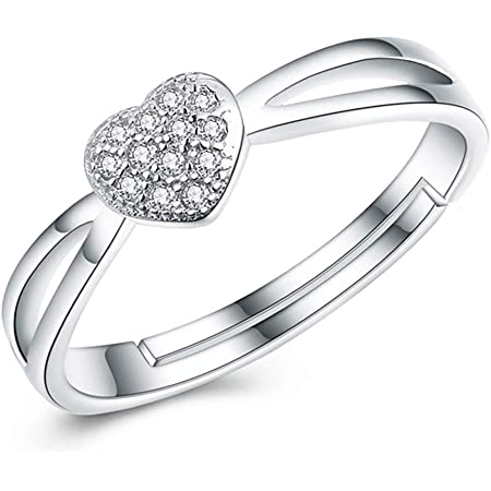 HAISWET 925 Sterling Silver Heart Adjustable Ring Band From J to V Micro Pave Cubic Zirconia