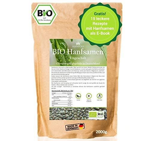 BIO Hanfsamen ungeschält 2kg aus Deutschland + digitales Rezeptbuch, angebaut in Deutschland