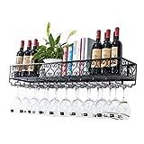 N\C ZSCC - Estante de almacenamiento de vino para colgar en la pared, altura ajustable, para colgar botellas de vino, metal, hierro, copas de vino, vasos, copas y copas