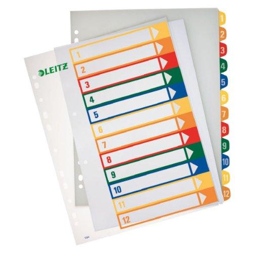 5 X LEITZ Register PC-beschriftbar A4 1-12 transp 1294-00-00 (J/3/2)